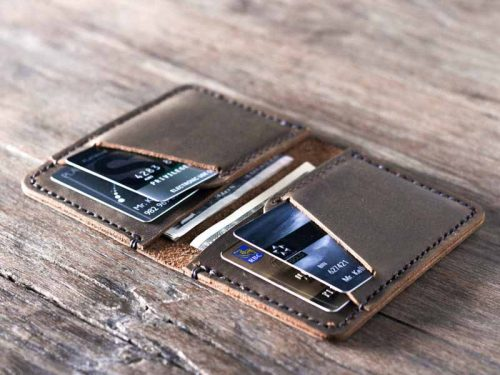 Men/'s Personalised Engraved Black Leather Slim Credit Card Holder Wallet