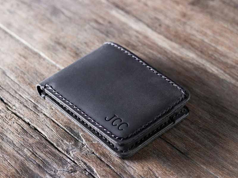 black leather wallet PD002R