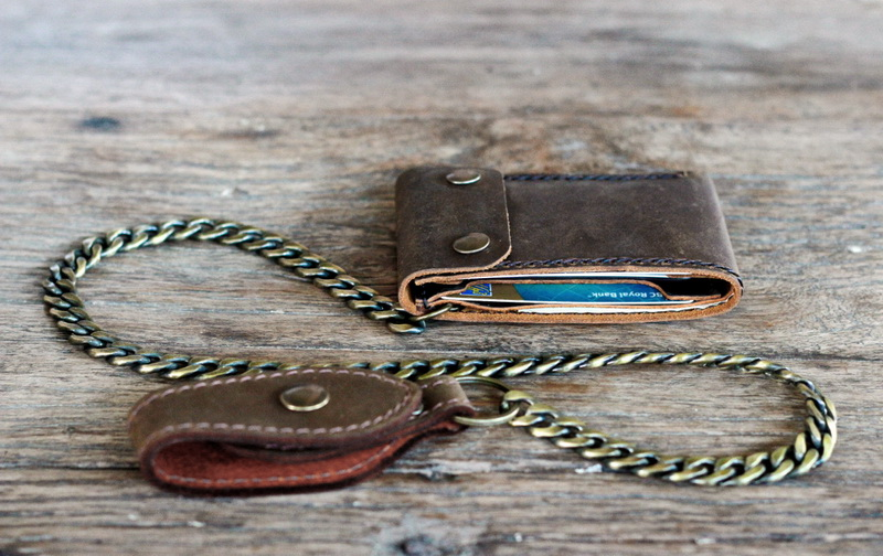 High quality leather chic chain wallet gifts for men