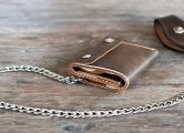 Handmade Leather Trifold Wallet with Chain