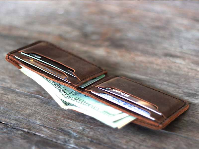 Leather bifold wallet 002r