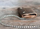 Leather Trifold Wallet with Chain