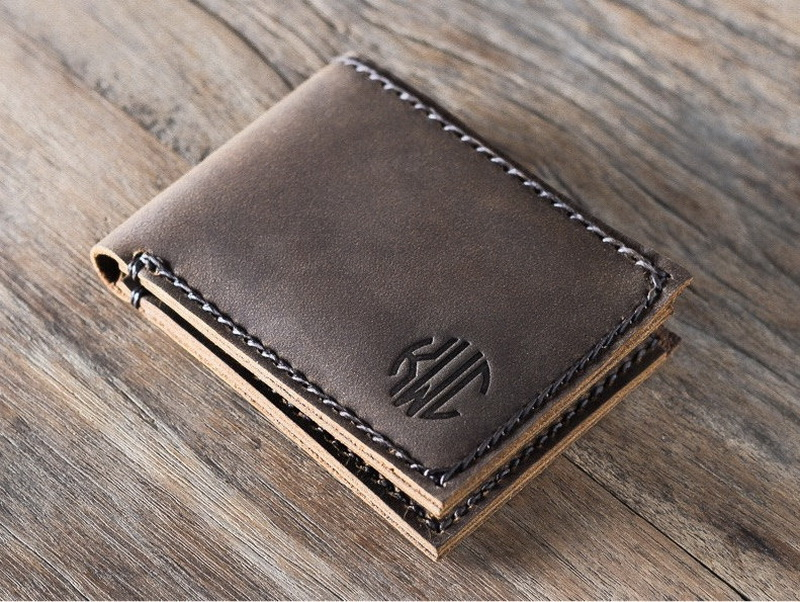 8e07ab96c9539 Magnificent Minimalist Handmade Leather Bifold Wallet Personalized ...