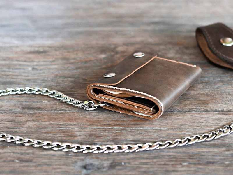 3a60d5a2b9e2 Handmade Leather Trifold Wallet with Chain. Trifold Wallet for men