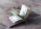 mens LEATHER money clip