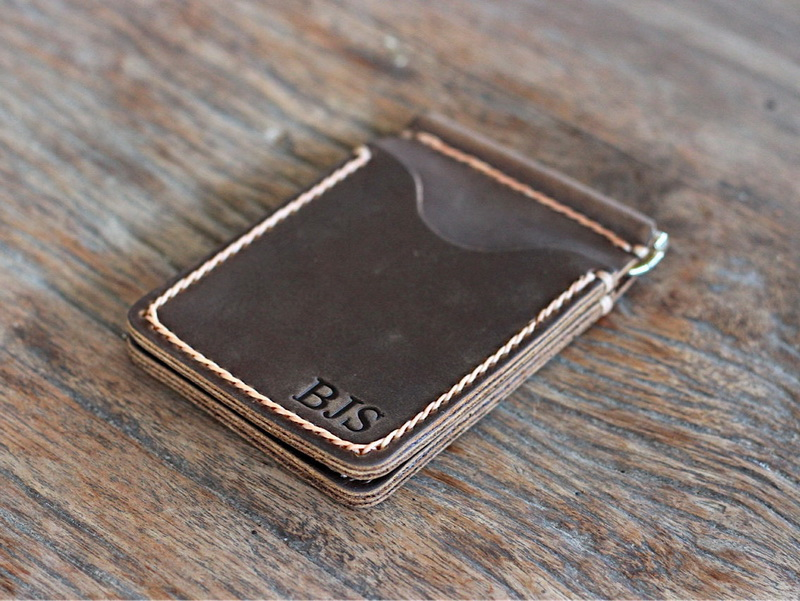 best selling personalized custom money clip leather wallets