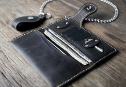 Dark Leather Mens Wallet for Bikers