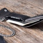Mens Dark Leather Wallet with Chain