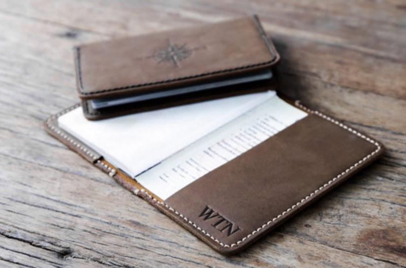 Leather Passport Holder Compass Rose