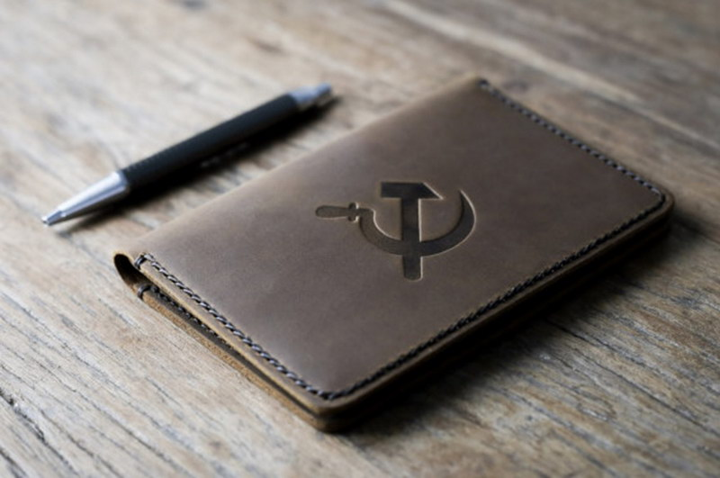 Hammer and Sickle Leather Notebook Journal