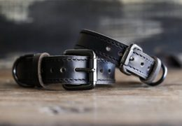 Personalized Leather Dog Collar - Black