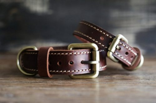 Personalized Leather Dog Collar - Red